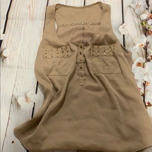 Bebe nude beige loose tank with gold accessories
